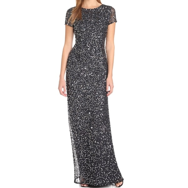 9c229a8557001 Shop Adrianna Papell NEW Navy Blue Womens Size 4 Scoop-Neck Sequin ...