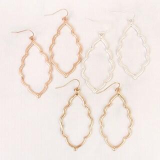 """Riah Fashion's Moroccan Geometric Cut-out Hook Drop Earrings - 2"""" length x 1 ½"""" width"""