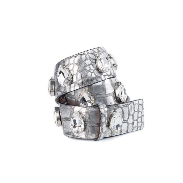 Cavalli Croc Silver Leather Crystal Embellished