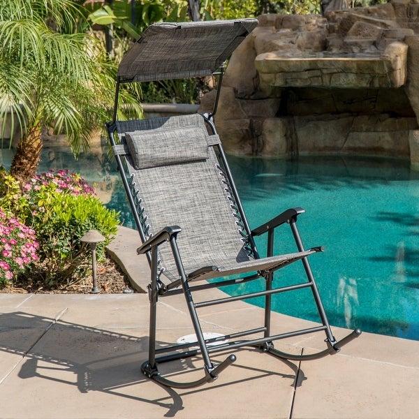 Belleze Zero Gravity Chair Canopy Shade Folding Rocking Bungee Gray