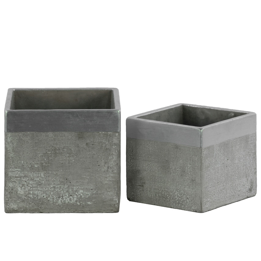 Square Cemented Flower Pot With Silver Banded Rim Top, Set of 2, Gray