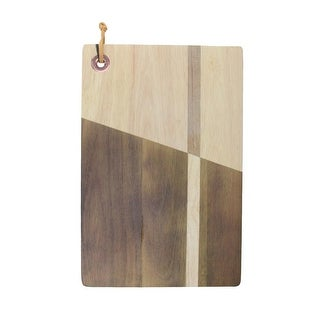 """12"""" Brown and Rose Gold Solid Inlay Acacia Wood with Grommet Cutting Board"""