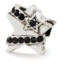 Sterling Silver Reflections Star with Black Swarovski Elements Bead (4mm Diameter Hole)