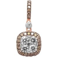 Prism Jewel 0.79Ct Brown Color Diamond & Natural Diamond Square Cushion Pendant - White G-H
