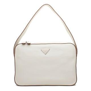 Prada Vitello Daino Leather Shoulder Handbag - White