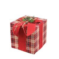 "12.5"" Square Red, Brown and Green Plaid Gift Box with Pine Bow Table Top Christmas Decoration"