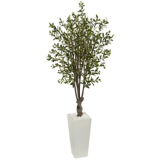 Nearly Natural 6' Olive Artificial Tree in White Tower Planter