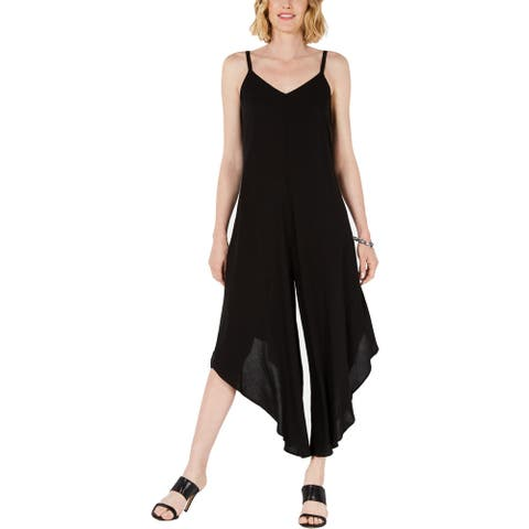 MSK Womens Petites Jumpsuit Lattice Asymmetric Hem - Black