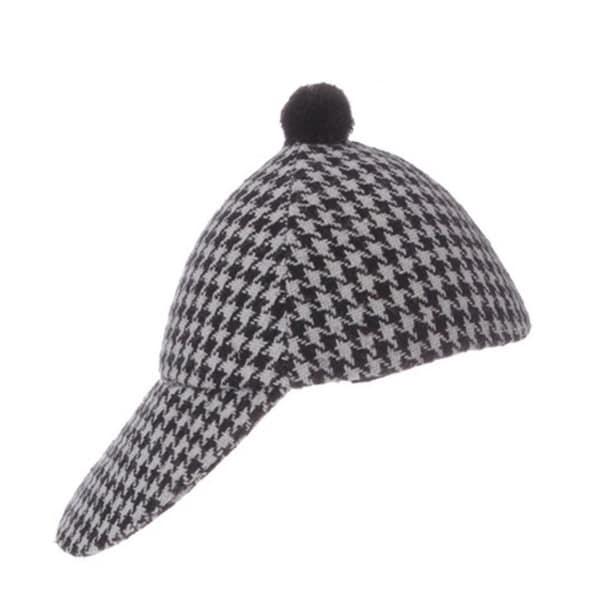 "6.25"" Alpine Chic Decorative Black and Gray Check Jockey Hat Christmas Ornament"