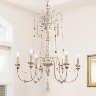 """Link to French Country 6-lights Chandelier Chic White Wood Chandelier Pendant - D 29"""" x H 37.8""""  Similar Items in Chandeliers"""