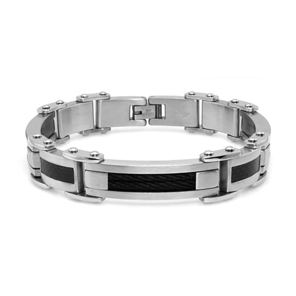 Gladiatior Stainless Steel Black Cable and Carbon Fiber Inlay Bracelet - 8.5 inches