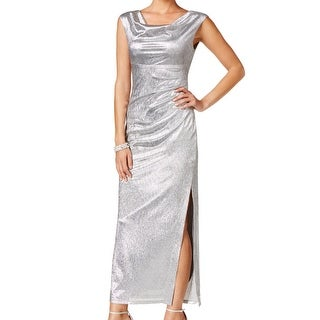 Connected Apparel NEW Silver Women's Size 8 Side-Slit Draped Ball Gown