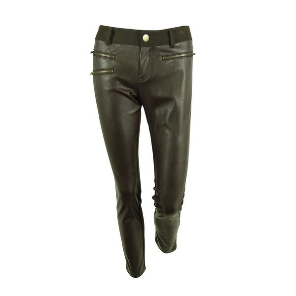 INC International Concepts Women's Faux-Leather Skinny Pants - Coffee Bean