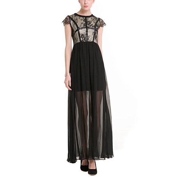 2ff506c2c44 Shop Women Elegant Sleeveless Round Neck Lace Chiffon Evening Party ...