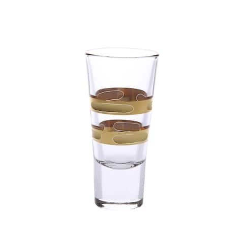 Set of 6 Liquor Glasses with 14K Gold Brick Design