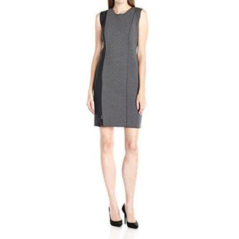 T Tahari Womens Kinley Scuba Dress, Grey Melange, 14