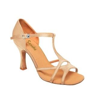 Sansha Adult Light Tan Suede T-Bar Buckle Laetitia Ballroom Shoes Womens