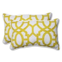 "Set of 2 Geo Amazing Yellow Rectangular Throw Pillow 18.5"" - White"