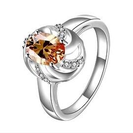 Orange Citrine Spiral Laser Cut Petite Ring