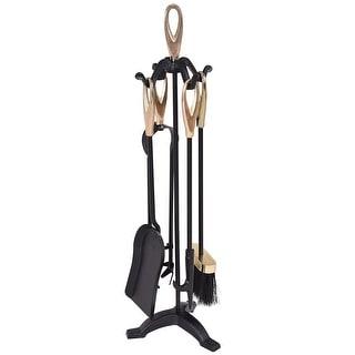 5 pcs Stylish Gold Iron Fireplace Tools Set