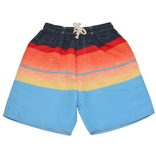Quad Seven Little Boys Blue Red Orange Wavy Pattern Swimwear Trunks