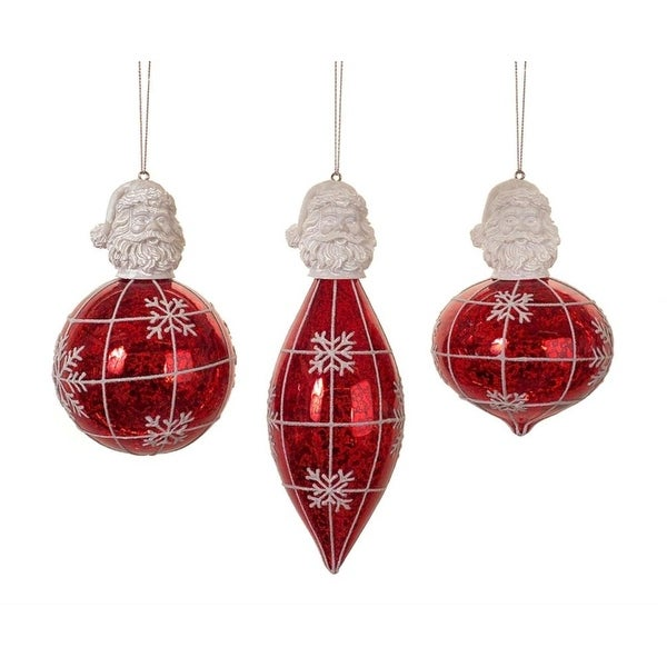 """Club Pack of 12 Decorative Santa Top and Snowflake Glass Christmas Ornament 6.5"""" - WHITE"""