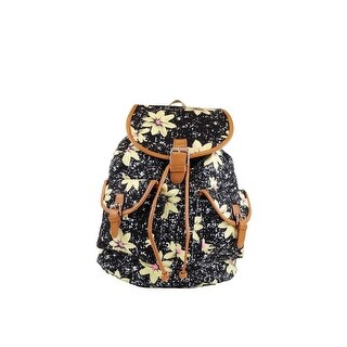 Hearty Trendy Girls Black Ivory Daisy Print Flap Pockets Cotton Canvas Backpack