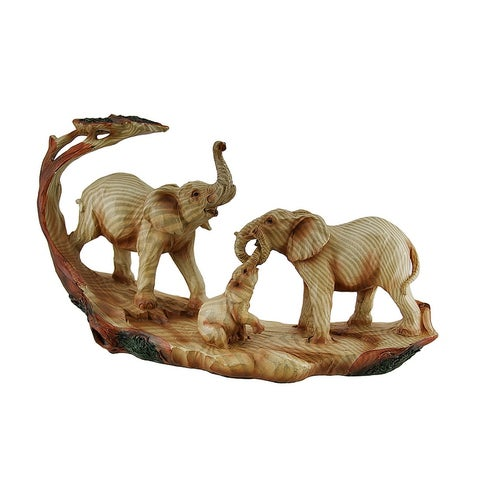 Elephant Family Safari Carved Wood Look Decorative Statue