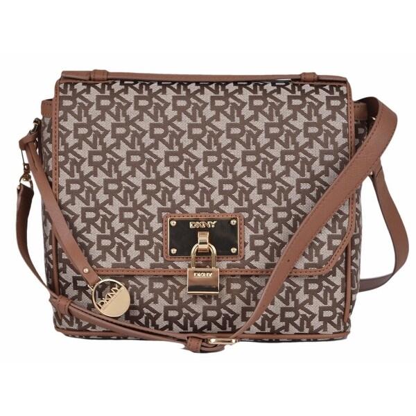Dkny Donna Karan Chino Logo Heritage Lock Crossbody Top Handle Purse Handbag