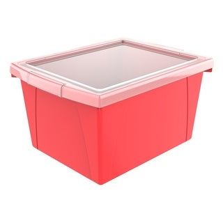 Storex Classroom Storage Bin with Lid, 4 Gallon, 13-5/8 x 11-1/4 x 7-7/8 Inches, Red