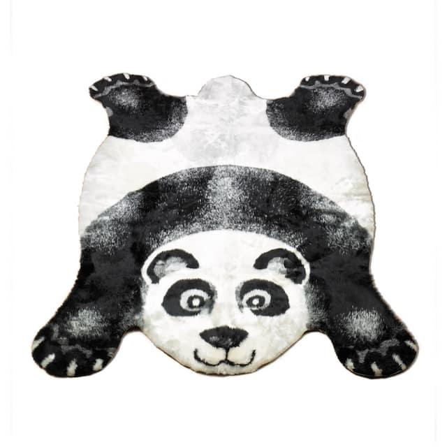 "Walk on Me Kids Playmat Animal Faux Fur/ Faux Sheepskin Machine Washable Area Rug - 4'7"" x 6'7"" - Panda Bear"