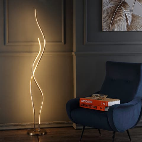 "Cairo 63.75"" LED Integrated Floor Lamp, Gold by JONATHAN Y - 63.75"" H x 9.875"" W x 9.875"" D"