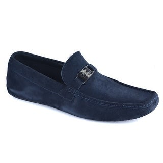 Cavalli Class Men's Smooth Navy Suede Slip on Driving Flat Loafers