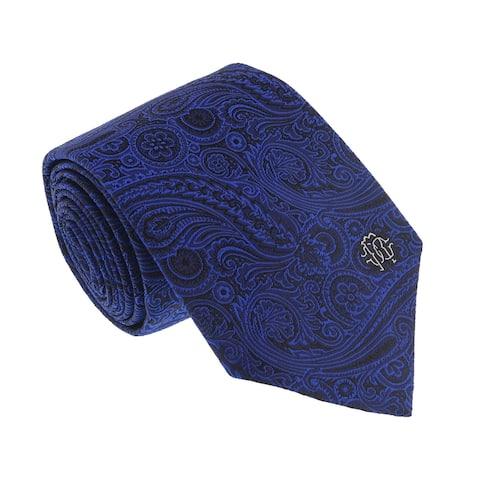 Roberto Cavalli ESZ024 04500 Electric Blue Floral Jaquard Tie - 3-58
