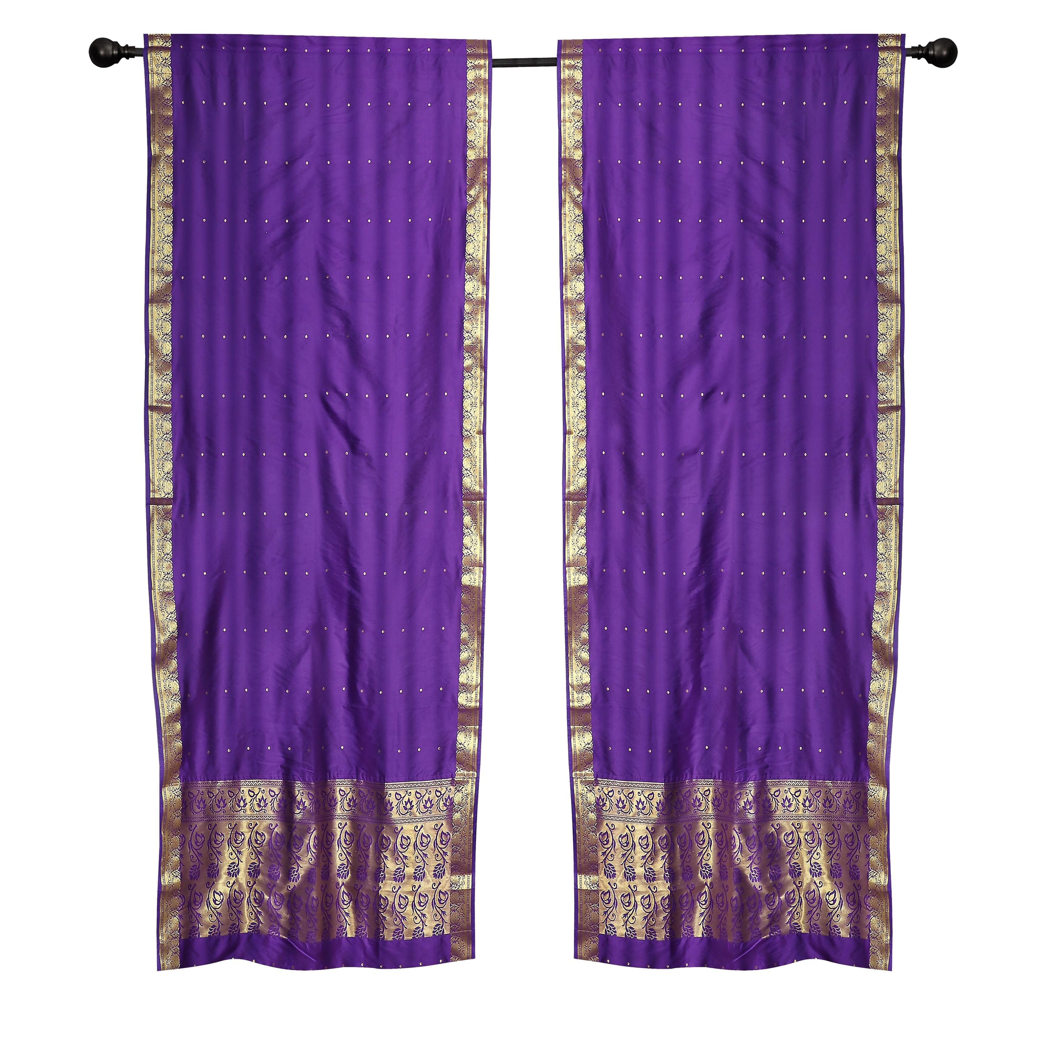 2 Boho Purple Indian Sari Curtains Rod Pocket Window Panels Drapes