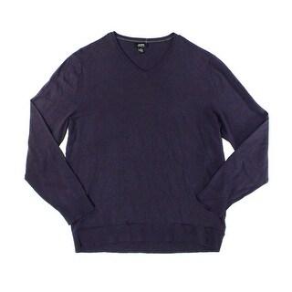 Alfani Deep Purple Mens Size Large L V-Neck Ribbed-Knit Sweater