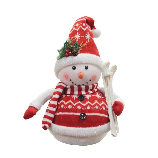 """12"""" Alpine Chic Red and White Sparkling Snowman with Skiis Christmas Decoration"""