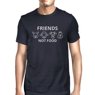Friends Not Food Navy Mens Short Sleeve Round Neck Shirt For Summer