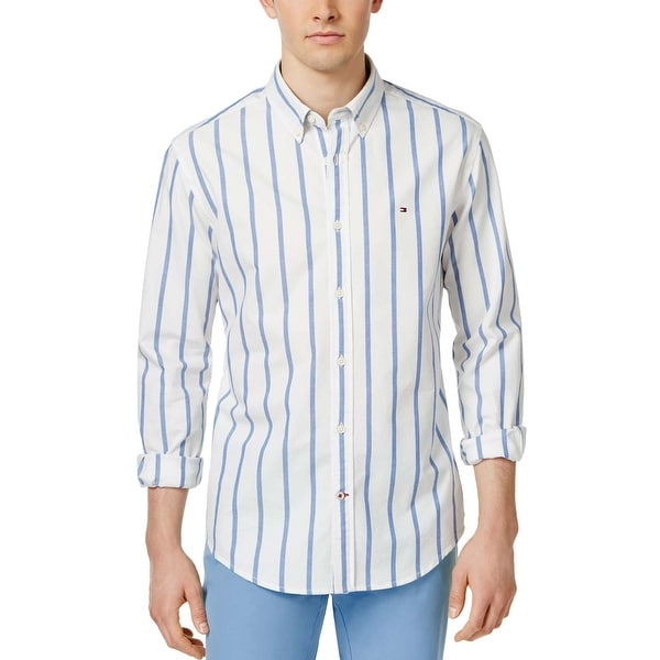 a16ff04c Shop Tommy Hilfiger Mens Custom Fit White and Blue Striped Oxford Shirt XXL  2XL - Free Shipping Today - Overstock - 19740979