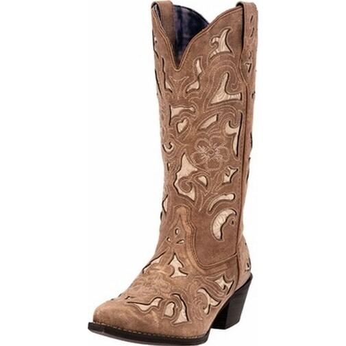 "Laredo Western Boots Womens 13"" Bone Underlay CC Tan Crackle"