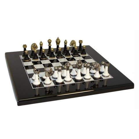 Black & White Wood and Metal Chess Set - Multicolored