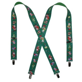 CTM® Elastic Christmas Themed Holiday Clip End Suspenders - One Size