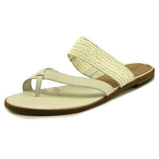 Via Spiga Tamina Women Open Toe Leather White Slides Sandal