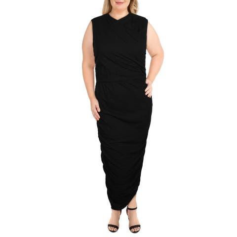 Rebdolls Womens Plus Maxi Dress Knit Sleeveless - Black