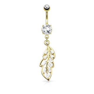 Princess Cut CZ Pave Leaf Dangle Surgical Steel Belly Button Navel Ring - 14GA (Sold Ind.)