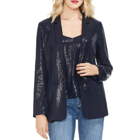 Vince Camuto Womens Open-Front Blazer Sequined Double-Breasted - Classic Navy - 12