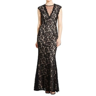 Betsy & Adam Womens Petites Formal Dress Lace Illusion