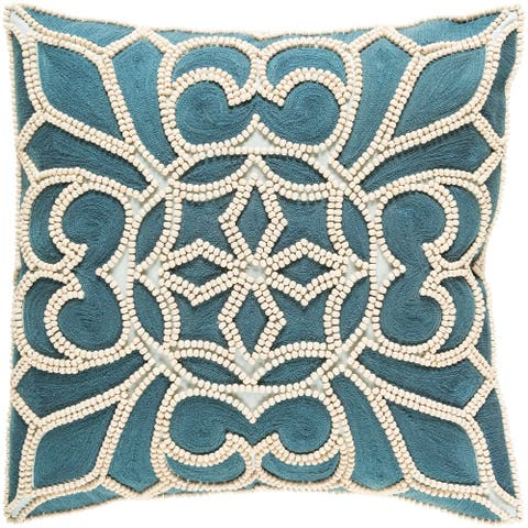 Decorative Soham Teal Blue 18-inch Throw Pillow Cover
