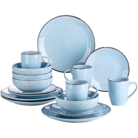 vancasso Navia Oceano Dinner Set Stoneware Vintage Ceramic,16 Pieces Light Blue - 8' x 10'