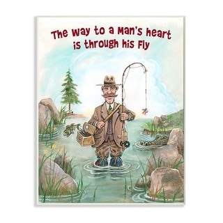 Link to Stupell Industries His Fly Funny Sports Fishing Cartoon Design Wood Wall Art Similar Items in Wood Wall Art